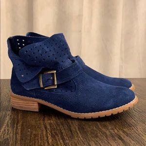 Royal blue slouch ankle boots